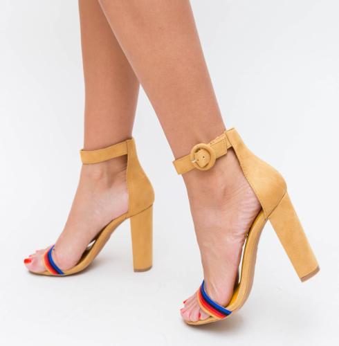 Sandale Epio Galbene - Sandale dama ieftine - Sandale cu toc gros