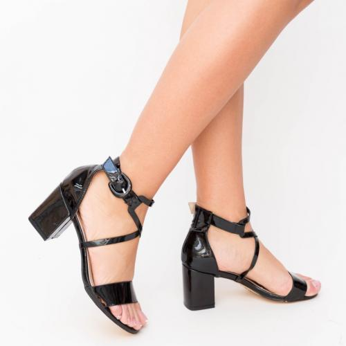 Sandale Erba Negre - Sandale dama ieftine - Sandale cu toc gros