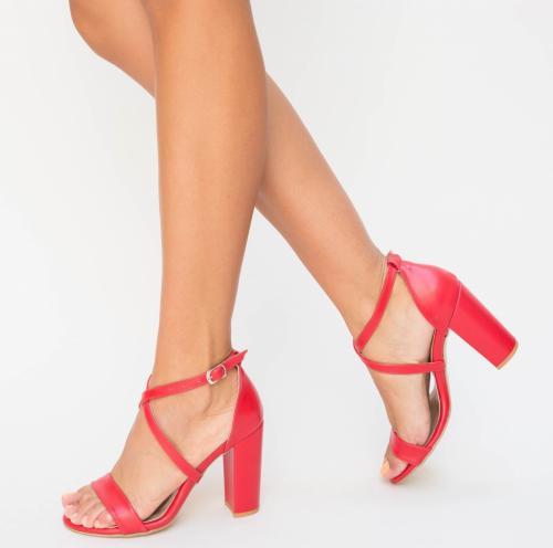 Sandale Evet Rosii 2 - Sandale dama ieftine - Sandale cu toc gros