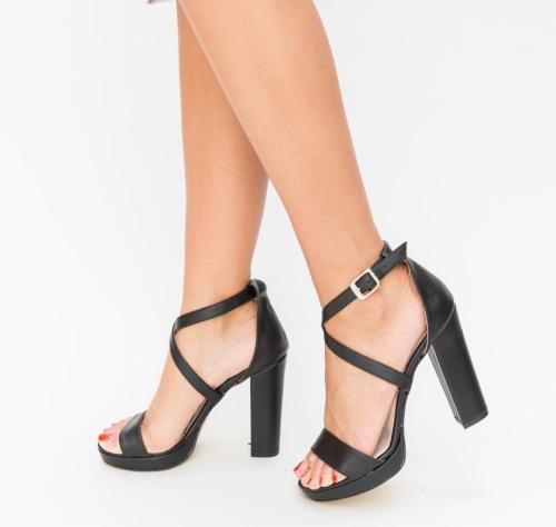 Sandale Evika Negre - Sandale dama ieftine - Sandale cu toc gros