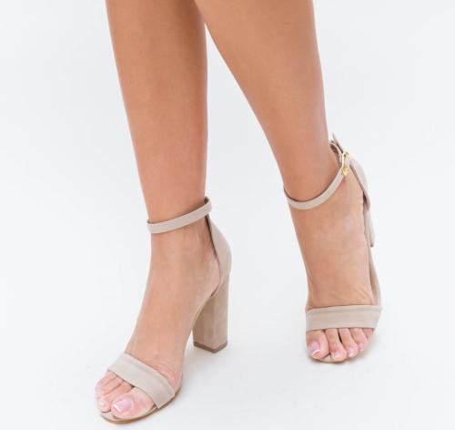 Sandale Evtea Bej - Sandale dama ieftine - Sandale cu toc gros