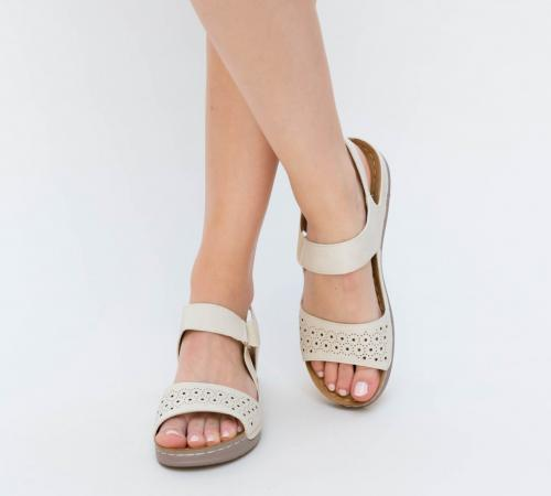 Sandale Fami Bej - Sandale dama ieftine - Sandale cu talpa joasa