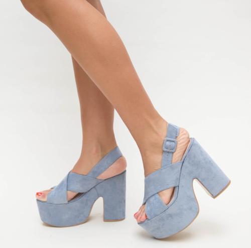 Sandale Farao Albastre - Sandale dama ieftine - Sandale cu toc gros