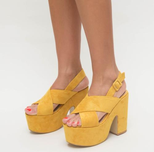 Sandale Farao Galbene - Sandale dama ieftine - Sandale cu toc gros