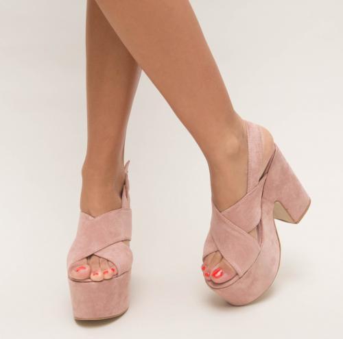 Sandale Farao Roz - Sandale dama ieftine - Sandale cu toc gros