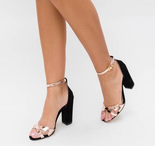 Sandale Hajde Negre 3 - Sandale dama ieftine - Sandale cu toc gros