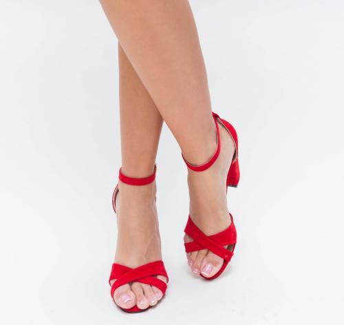Sandale Hajde Rosii 2 - Sandale dama ieftine - Sandale cu toc gros