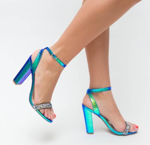 Sandale Hela Albastre - Sandale dama ieftine - Sandale cu toc gros
