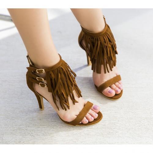 Sandale Heminot Camel - Sandale dama ieftine - Sandale cu toc subtire