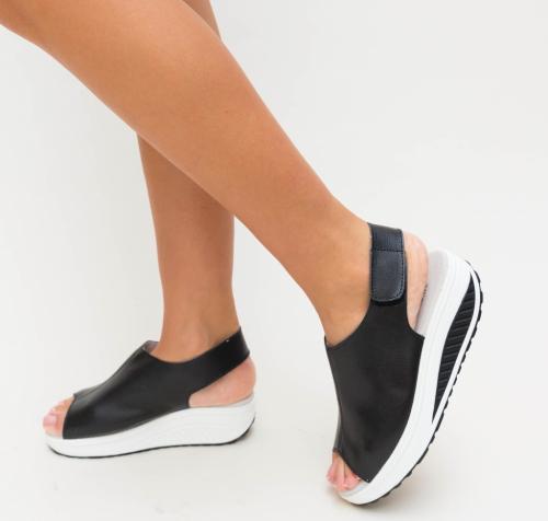 Sandale Hola Negre - Sandale dama ieftine - Sandale cu platforma
