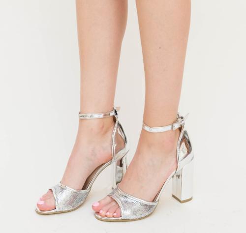 Sandale Karin Argintii - Sandale dama ieftine - Sandale cu toc gros