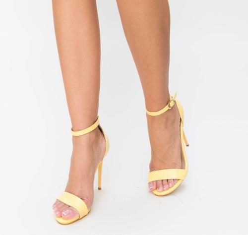 Sandale Kebek Galbeni - Sandale dama ieftine - Sandale cu toc subtire