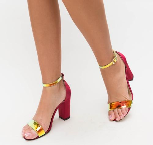 Sandale Kilia Grena - Sandale dama ieftine - Sandale cu toc gros