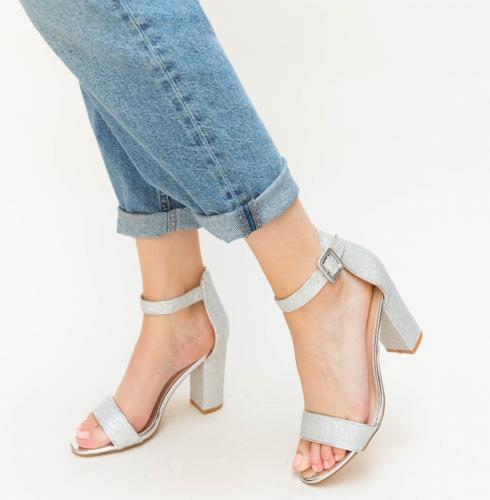 Sandale Lela Argintii - Sandale dama ieftine - Sandale cu toc gros