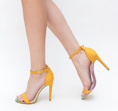 Sandale Lion Galbene - Sandale dama ieftine - Sandale cu toc subtire