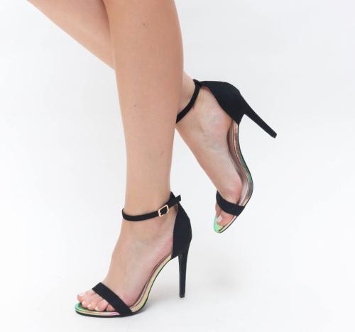 Sandale Lion Negre - Sandale dama ieftine - Sandale cu toc subtire