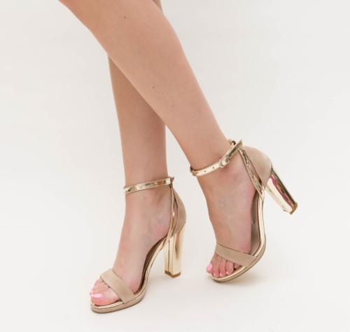 Sandale Mande Bej - Sandale dama ieftine - Sandale cu toc gros