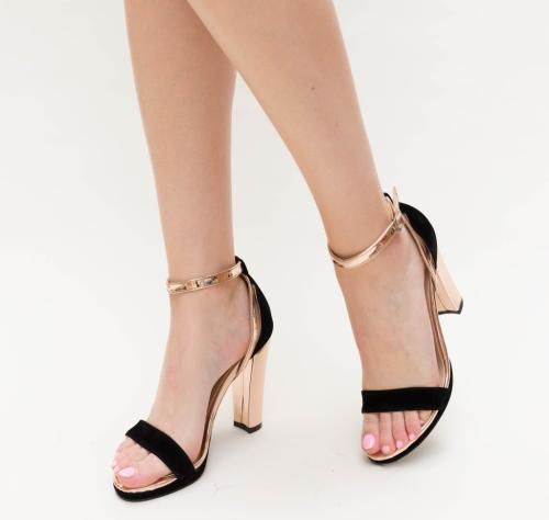 Sandale Mande Negre 2 - Sandale dama ieftine - Sandale cu toc gros