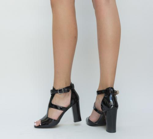 Sandale Marisy Negre - Sandale dama ieftine - Sandale cu toc gros