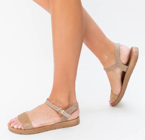 Sandale Megera Khaki - Sandale dama ieftine - Sandale cu talpa joasa