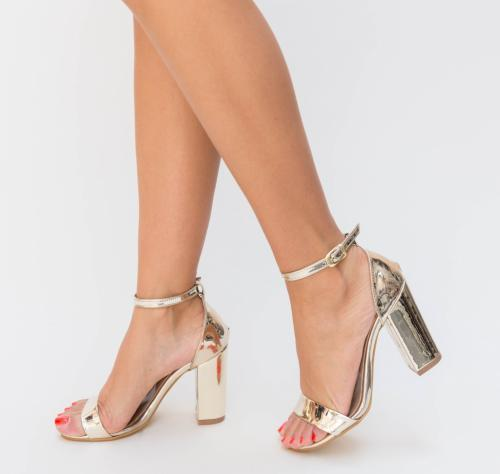 Sandale Mereso Aurii - Sandale dama ieftine - Sandale cu toc gros
