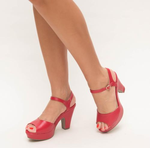 Sandale Mexio Rosii - Sandale dama ieftine - Sandale cu toc gros