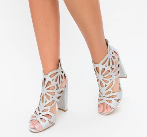 Sandale Numan Argintii - Sandale dama ieftine - Sandale cu toc gros