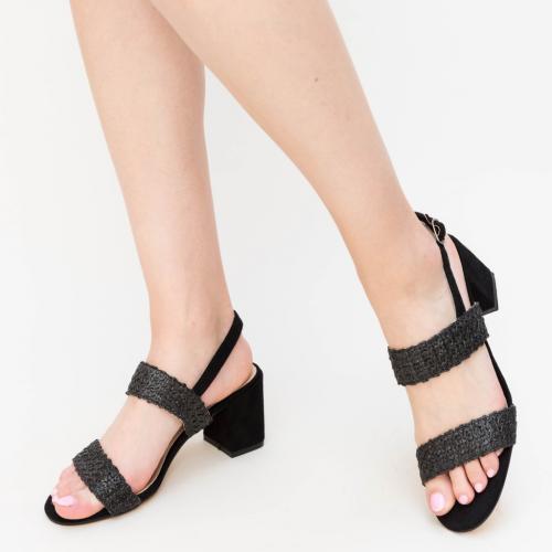 Sandale Paciu Negre - Sandale dama ieftine - Sandale cu toc gros