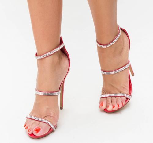 Sandale Peru Rosii - Sandale dama ieftine - Sandale cu toc subtire