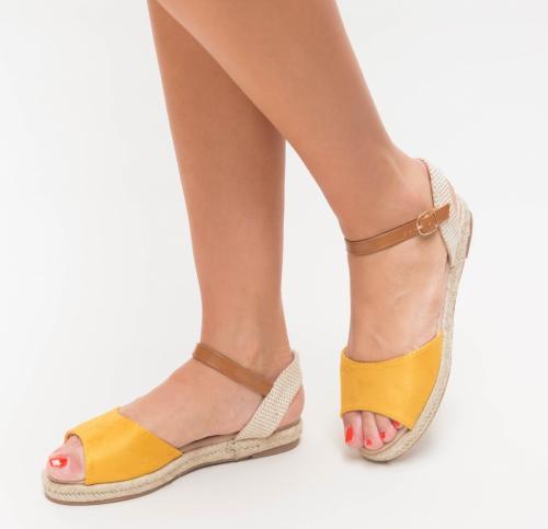 Sandale Prova Galbene - Sandale dama ieftine - Sandale cu talpa joasa