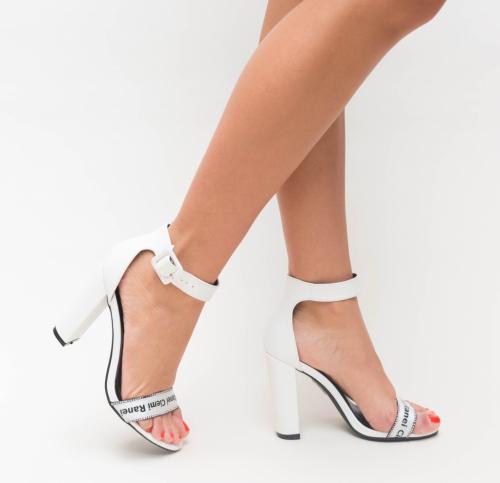 Sandale Ranea Albe - Sandale dama ieftine - Sandale cu toc gros