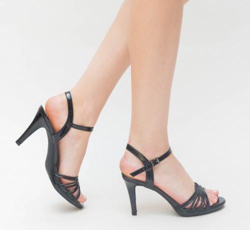 Sandale Semel Negre - Sandale dama ieftine - Sandale cu toc subtire