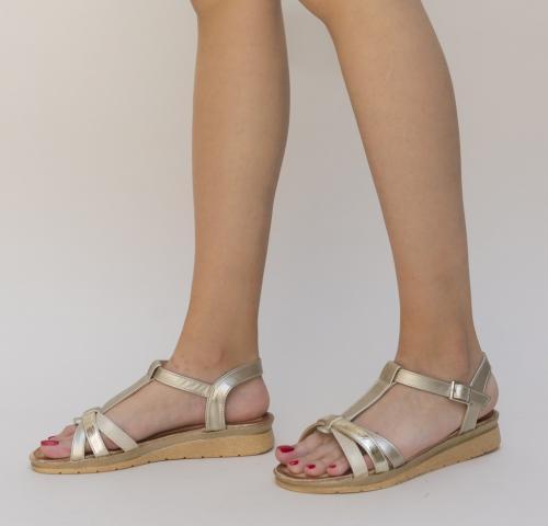 Sandale Tarces Aurii - Sandale dama ieftine - Sandale cu talpa joasa