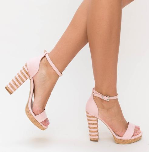 Sandale Tigra Roz - Sandale dama ieftine - Sandale cu toc gros