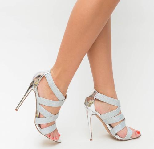 Sandale Valensa Argintii - Sandale dama ieftine - Sandale cu toc subtire