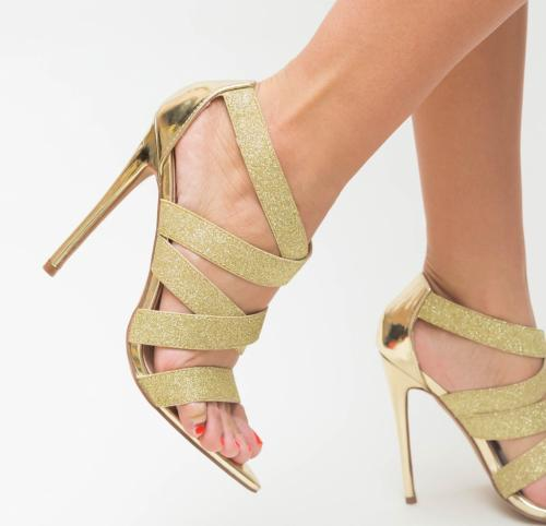 Sandale Valensa Aurii - Sandale dama ieftine - Sandale cu toc subtire
