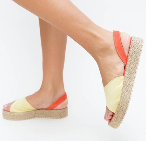 Sandale Vister Galben - Sandale dama ieftine - Sandale cu talpa joasa