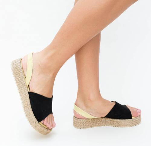 Sandale Vister Negre - Sandale dama ieftine - Sandale cu talpa joasa