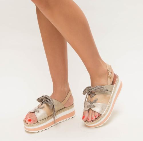 Sandale Vivas Aurii - Sandale dama ieftine - Sandale cu platforma