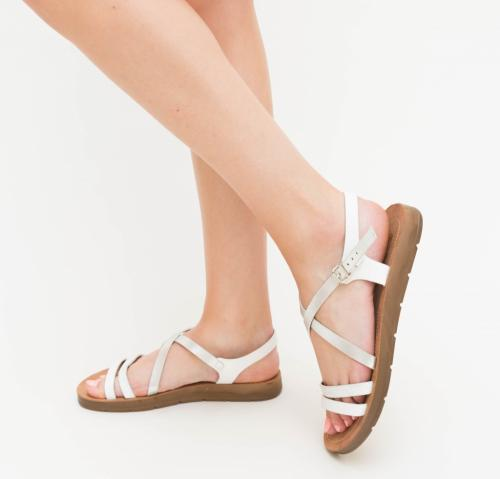 Sandale Zarza Albe - Sandale dama ieftine - Sandale cu talpa joasa