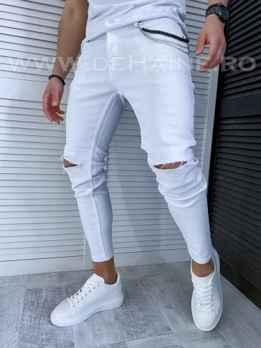 Blugi barbati conici albi 1016 F3* - Pantaloni barbati - Blugi barbati