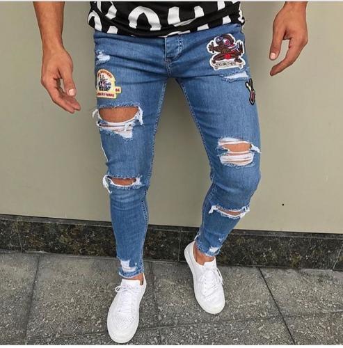 Blugi barbati conici cu stikere 8834 H6-12 - Pantaloni barbati - Blugi barbati