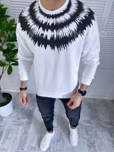Bluza barbati alba slim fit K337 13-1 - Bluze barbatesti -