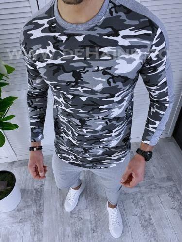 Bluza barbati camuflaj slim fit B3585 87-2 - Bluze barbatesti -