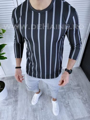 Bluza barbati gri inchis slim fit B3581 13-3 - Bluze barbatesti -
