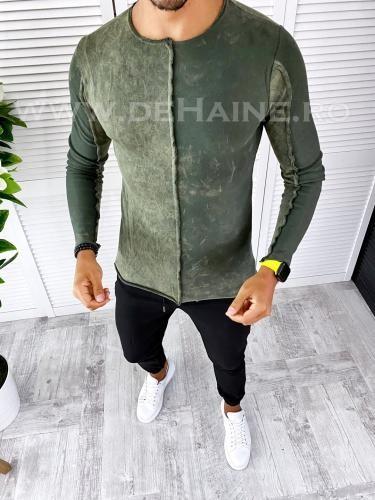 Bluza barbati kaki slim fit T3654 i19-3 - Bluze barbatesti -