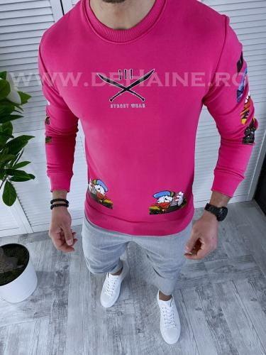 Bluza barbati roz slim fit K306 O3 3-1 - Bluze barbatesti -