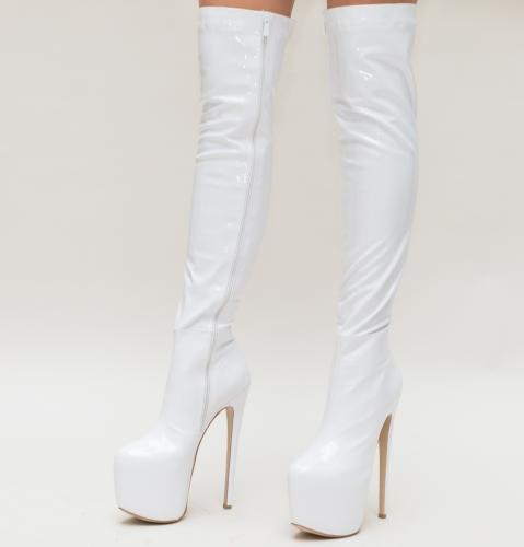 Cizme Tarce Albe - Cizme dama - Cizme peste genunchi