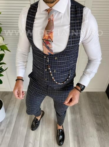 Compleu barbati bleumarin Vesta + Pantaloni B1458 - Costume barbatesti -