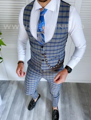 Compleu barbati in carouri Vesta + Pantaloni A3943 - Costume barbatesti -